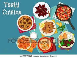 russe en cuisine clipart grec et russe cuisine déjeuner menu icône k42827184