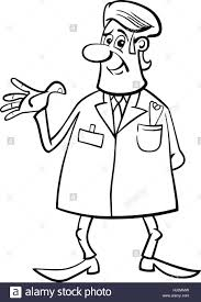 black and white cartoon illustration of male medical doctor in