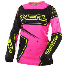 oneal motocross jersey oneal element racewear offroad t shirts pink black yellow women s