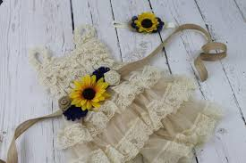 sunflower headband chagne flower girl dress sunflower flower girl sash sunflower