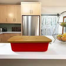 bread bin with cutting board lid bamboo fiber red clean