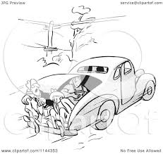 cartoon car black and white cartoon of black and white car pool passengers riding in the trunk
