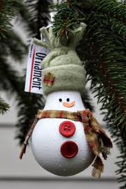 snowman from recycled materials snowman christmas tree ornament