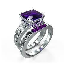 art deco hollow rose stackable purple gemstone engagement ring set