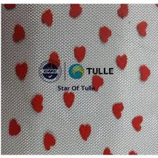 spool of tulle f005 china 100 polyester heart flocking tulle spool flocked
