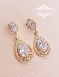 gold earrings for wedding bridal drop earrings pear cubic zirconia dangle earrings bridal