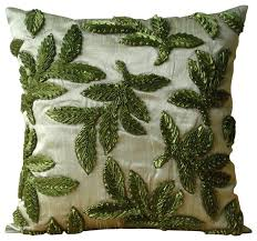 leaf ribbon green silk ribbon leaf pillows cover leafy days tropical