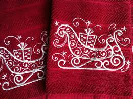embroidered christmas machine embroidered christmas handtowels embroidery it