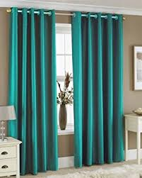 Teal Curtains Teal Faux Silk Lined Curtains With Eyelet Ring Top 66 X 72