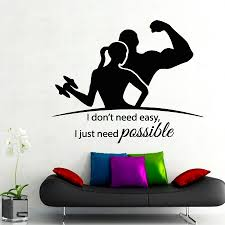 popular easy wall mural buy cheap easy wall mural lots from china fitness wall decal sport people i don t need easy i just need possible gym