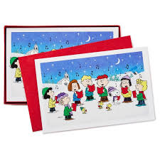 peanuts gang caroling christmas cards box of 40 boxed cards