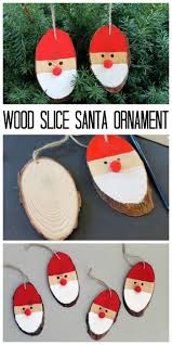 wood slice santa ornaments santa ornaments christmas tree and