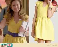 wornontv penny u0027s yellow v neck dress on glee clothes and