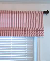 Red Roman Shades Faux Roman Shade Lined Mock Valance Red Ticking Stripe