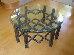 Vintage Glass Top Coffee Table Vintage Mcguire Black Rattan Bamboo Glass Top Coffee Table