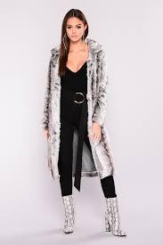 real fur coat grey