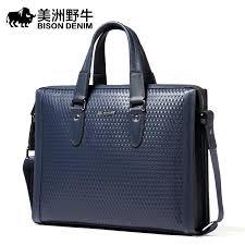 Cowhide Briefcase 2017 Bison Denim Brand Handbag Men Shoulder Bags Leather Genuine