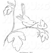 clip art of a wren on a tree branch black and white line art by