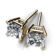 real diamond earrings for men 14kt yellow gold bezel set diamond stud earrings union diamond
