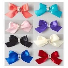 pre bows satin bows with rhinestone 3 inch 4