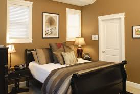 contemporary guest bedroom design with curved espresso wooden bed