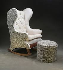 White Leather Wingback Chair Classy White Tufted Leather Wingback Rocking Chair In Eccentric
