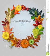 Free Happy Thanksgiving Happy Thanksgiving Day Greeting Card With Wreath Stock Vector