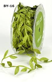 leaf ribbon olive green leaf trim satin ribbon on a 2m length n b this is a
