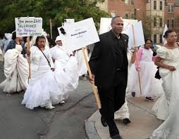 brides u0027 march makes statement against domestic violence news