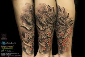 Black And Grey Koi Carp - pit tattoos certified artist