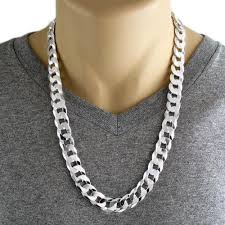 curb link necklace silver images Sterling silver cuban curb flat chain necklace 14mm gauge 350 jpg