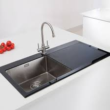 Caple Vitrea Single Bowl Glass And Stainless Steel Kitchen Sink - Black glass kitchen sink