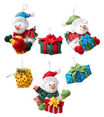 snowman with presents bucilla ornament kit