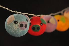 cotton string lights pig planet mixed colour for kid birthday