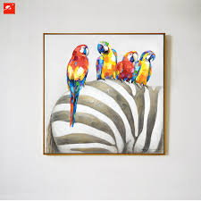 parrot home decor animal wall art elephant zebra abstract parrot hand painted oil