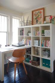 ikea billy bookcase and desk combination in white study room