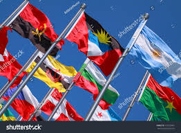 Commonwealth Flags Flags All Nations World Flying Blue Stock Photo 125735681
