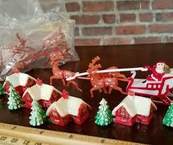Vintage Christmas Cake Decorations Reindeer by Lot Vintage Christmas Plastic Cake Toppers Santa Sleigh Reindeer