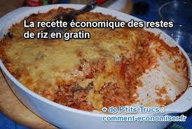 cuisine avec du riz recette économique les restes de riz en gratin