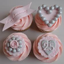 little paper cakes 25th silver wedding anniversary cupcakes