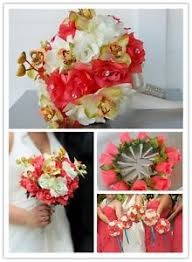 Coral Boutonniere 13pc Wedding Bridal Silk Flower Decoration Bouquet Corsage
