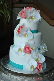 Cake Decorations Beach Theme - white orchids and coral roses wedding cake by the cake zone when