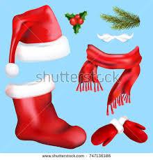 set hats santa on blue background stock vector 526659574