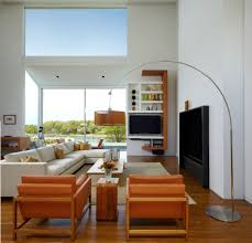 diy arc lamp with barcelona chair living room midcentury and metal