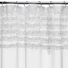 Ruffled Shower Curtain Tuxedo White Ruffled Cotton Shower Curtain U2022 Shower Curtain