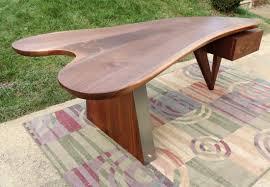Modern Solid Wood Desk by Executor Desk By Garry Zayon Walnut Slab Steel Solid Wood Mid