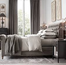Velvet Sleigh Bed Chesterfield Fabric Sleigh Bed With Footboard