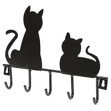 amazon com black cats wall mounted 5 key hooks metal hanger rack
