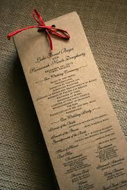 kraft paper wedding programs rustic wedding program with raffia ribbon on kraft paper