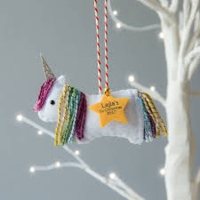 rainbow personalised christmas tree decoration by miss